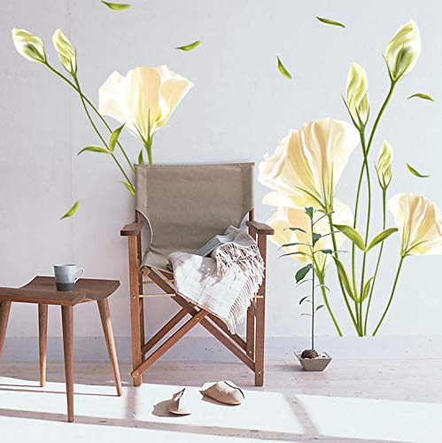Removable DIY Decorate Kids Room Cartoon Blooming Lily Wall Sticker for TV Sofa Background Wallpaper Home Decal
