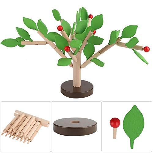 Mootea Wooden Building Blocks Toy Puzzle Wood Tree Set DIY 3D Assembled Toys Green Leaf