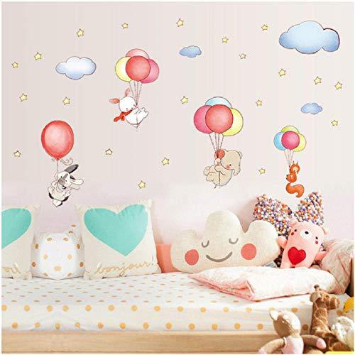 Wall Sticker Cartoon DIY Animal Balloons Cloud Stickers Elephant Rabbit Fox Stars Room Decor Bedroom Decorate Children Decals