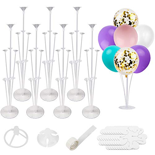 RUBFAC 7 Sets of Balloon Stand Kits Reusable Clear for Table Including Glue Tie Tool Flower Clips Suitable Party and Wedding Decorations Celebrations