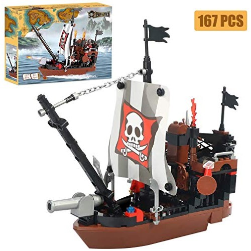 BRICK STORY Pirate Ship Building Blocks with 3 Mini Toy Figures
