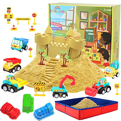 Construction Moving Sand Kit – Kenlaimi Play for Kids Vehicle Playset 2lbs 6 Mini Trucks 10 Road Signs with Foldable Sandbox Birthday Gifts Boys Girls
