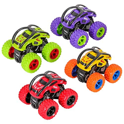 M SANMERSEN Inertia Car for Kids 4 PCS Monster Cars Toy Off-Road Vehicles Toys