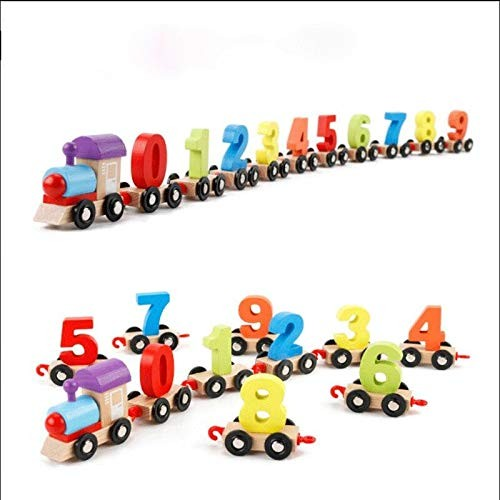 LC_Kwn Children's Puzzle Cognitive Digital Dragging Small Train Toy Wooden Assembling Assembly Fun Building Blocks Interactive Toys