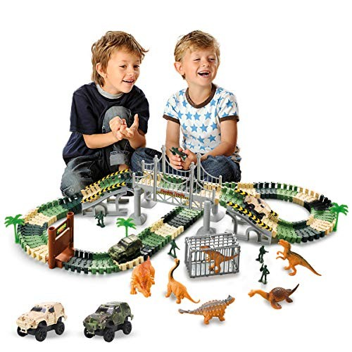 CTAAOHY Dinosaur World Toys Train 158 Pieces Race Car Track Sets Educational for Kids and Toddlers