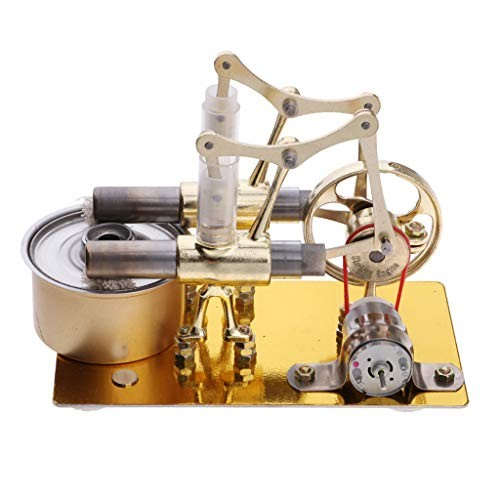 Toygogo Stirling Engine Model Kits 2-Cylinder Flywheel Rotary Hot Air Steam Powered Generator Toy Science Physics