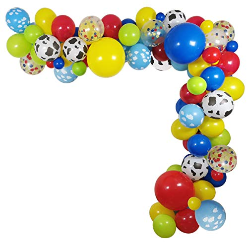 100 Pack Toy Story Party Birthday Balloons Arch Garland 12 INCH Cow Pattern Printed Yellow Red Blue Green Latex for Kids 1st 3rd 6th Baby Shower Decorations