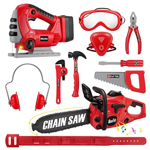 iBaseToy Toy Chainsaw Kids Toys Tools with Jig Saw and Realistic Sounds Lights