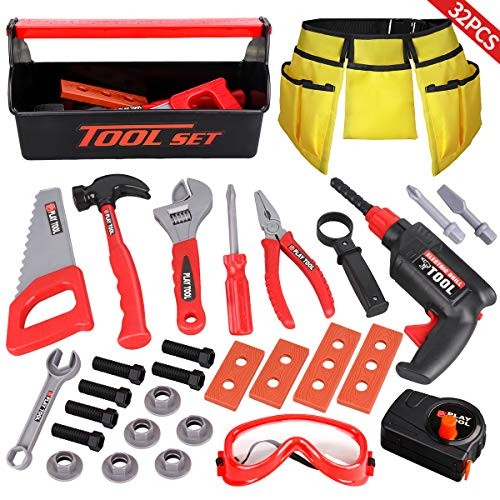 LOYO Kids Tool Set – 32PCS Pretend Play Construction Toy with Box Toolbelt Electronic Drill Accessories Gift for Toddlers Boys Ages Years Old