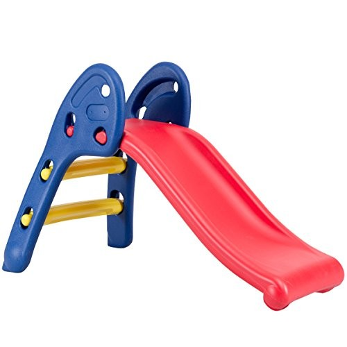 Baby Joy Folding Slide Indoor First Slide Plastic Play Slide Climber Kids (Ellipse Rail)