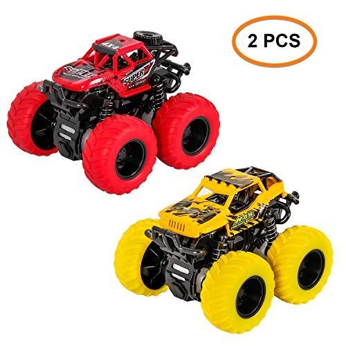 M SANMERSEN Kids Inertia Car 2 PCS Vehicles Toys Car Friction Powered 360 Degree