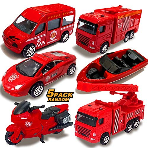 Diecast Fire Trucks Toy Cars for Kids Toddlers Boys – 5 Pack Alloy Metal