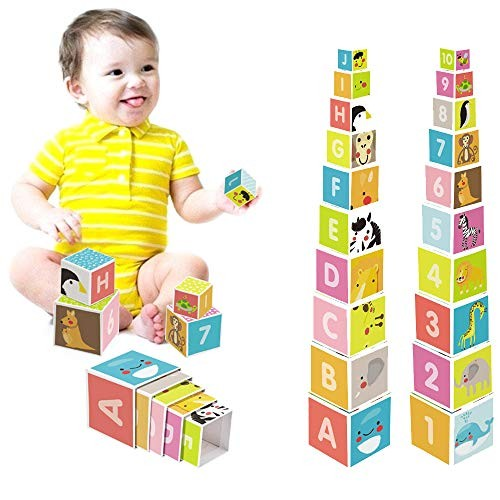 MELIFUN Nesting and Stacking Blocks 10pcs Cardboard with Letters Numbers Animals Plants Developmental Toys for Babies Toddlers Orange