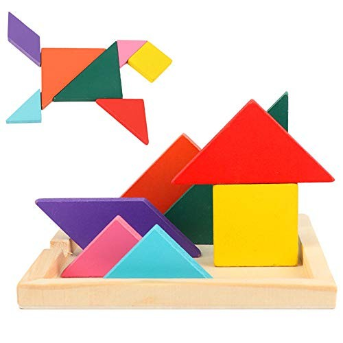Building Blocks Children's Educational Toys Colorful Wooden Brain Training Geometric Tangram Puzzle Ideal for Kids Creative Color Color Size Free Size