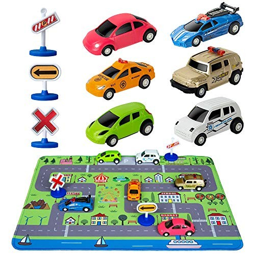Car Toys with Play Mat 6 Toy Cars 3 Road Signs 14 x 18