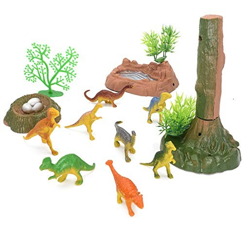 NViotoys Dinosaur Toys Accessories Set with Plastic Dino Eggs Trees Rocks for Kids
