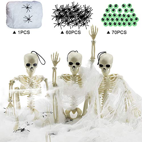 Day of the Dead Decorations Set Cinco de Mayo 3 Pcs 16 Skull Ghost Skeleton Props Halloween Hanging 70 Pieces Luminous Wiggle Googly Eyes with Self-Adhesive and 1 Stretch Spider Webs include 60 Indoor & Outdoor