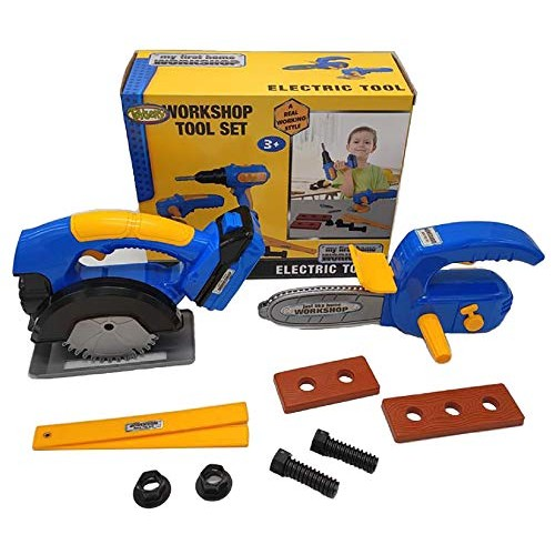 Toysery Kids Workshop Tool Set – Pretend Play Children Toys Fun and Educational Construction with 10 Pieces Including Battery Powered Cutter Machine 2 Power Tools 8 Accessories