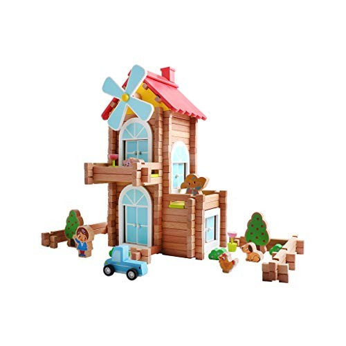 LINGLING-Building Blocks Toy Brick Wooden Play Family Hand-Assembled DIY Cabin Children's Educational Small House Villa Model Color Windmill Courtyard