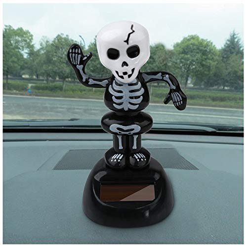 Flurries Happy Halloween Auto Solar Powered Swinging Skeleton Skull Ghost Figure – Animated Holiday Dancing Moving Toy Shaking Head Cute Decoration Car Interior Dashboard Window-Sill Black