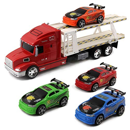 Vokodo Toy Semi Truck and Trailer 20 Inch Push and Go with 4 Race