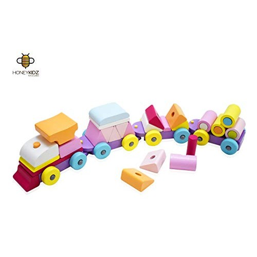Wooden Stacking Train Toy Set Shape Sorter and Building Blocks 32 pcs by HoneyKidz