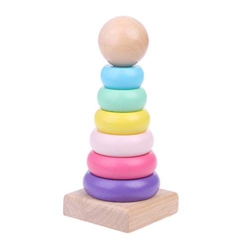 yuanhaourty Stacker Warm Color Rainbow Stacking Ring Tower Stapelring Blocks Wood Toddler Baby Toys