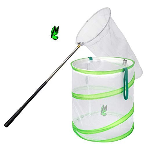Trasfit Butterfly Net Kit – Pop-up 12 x 14 Inches Habitat Cage Ring Scaleable Handle Extends to 59 for Adults & Kids