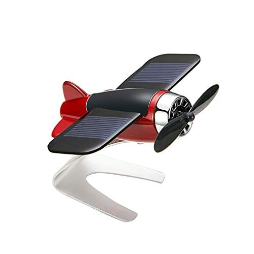 UNBRUVO Solar Small Aircraft Fan car Motion Aromatherapy Ornament Window Moving Airplane ModelThe Best Gift for Men and Boys Gold 9x75x5cm