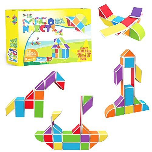 Magnetic Stick N Stack Magonnects 28 Piece Building Tiles Blocks Set- with Assorted Colors and Shapes Idea Book Included