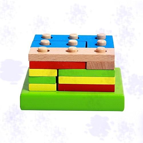 Buedvo Montessori Wooden Puzzle Kids Toy Geometric Sorting Board Educational Children's Building Blocks