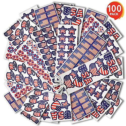 ArtCreativity Assorted USA Patriotic Stickers 100 Sheets with Over 1600 of US American Flag Map and Stars Red White Blue Decorations for Fourth July Memorial Veterans Day