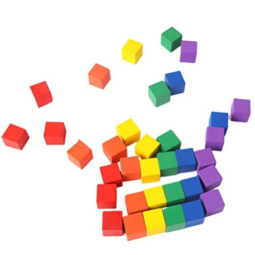NUOBESTY Wooden Color CubesBaby Building Blocks Square CubesCounting Sorting ToyAssorted ColorsSet of 100