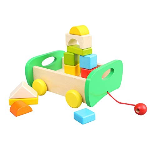 Wooden Toys Club Building Blocks Car for Toddlers Real Wood Toy Block Set Kids Baby Boy or Girl Age 3 Year & Older