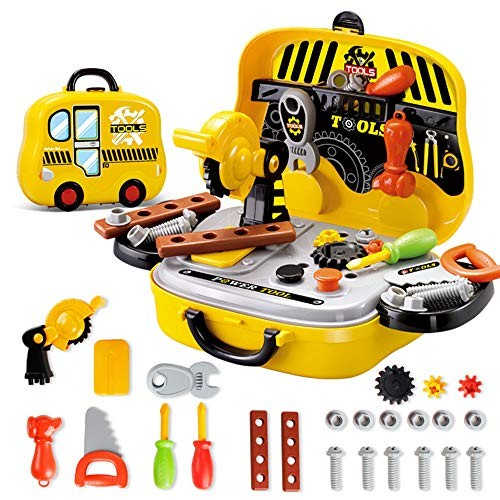 Alapaste 28 Pieces Kids Toy Tool Set Preschool Power Play Tools Toys Construction Workbench Accessories Role Gift with Handy Storage Box for Children Boys and Girls