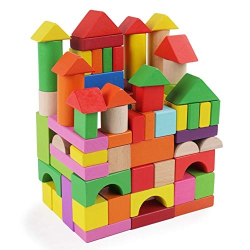 Rnwen-BB Building Blocks for Kids 100 Wooden Toy Ideal Children Imposition Educational Color Color Size Free Size