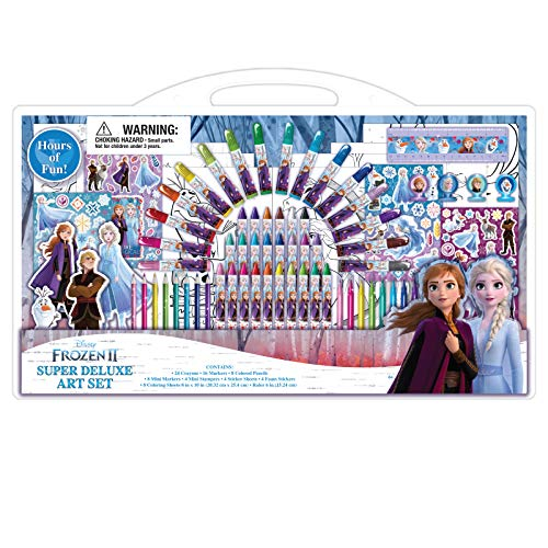Disney Frozen 2 Art Supplies Set + Coloring Pages w Stampers Stickers 77 Pcs