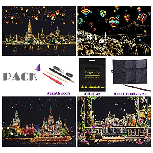 Scratch Painting Rainbow Paper by BOTEEN DIY Art Craft City Series Night View Creative Gift Scratchboard for Adults and Kids Kits with 4 Tools16''x11''4 Pack