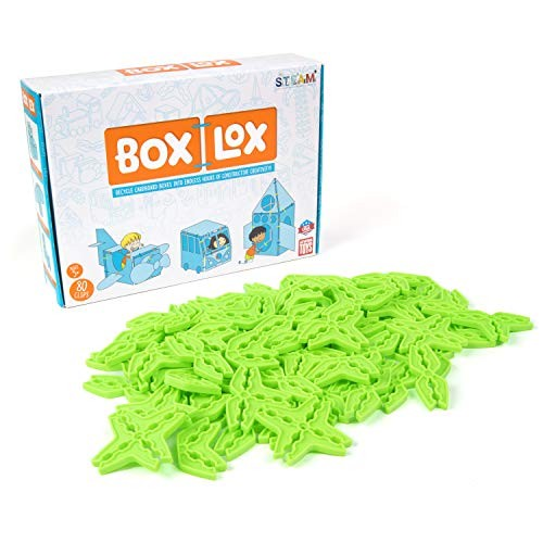 Atwood Toys Box Lox 80 pcs Creative Cardboard Building kit – Construction for Girls and Boys Educational STEM Alternative to Blocks Toy Neon Green