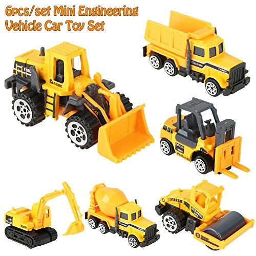 wosume Alloy Engineering Truck Mini Vehicle Model Pocket Size Construction Models Play Vehicles Toy for Kids Gift 6Pcs Set 1 64 Scale
