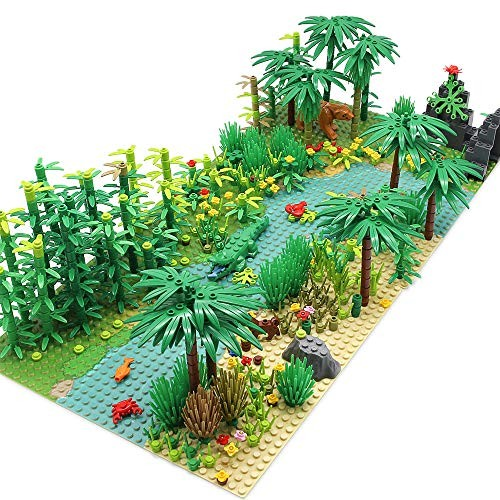 Feleph Forest Garden Building Blocks with 2 Base Plates 10 Inches for Each Rainforest Plants Tree Flowers Bricks Toy Accessories Jungle Kit Compatible Major Brands
