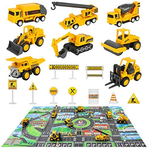 Construction Vehicles Truck Toys Set with Play Mat – 8 Mini Engineer Diecast Pull