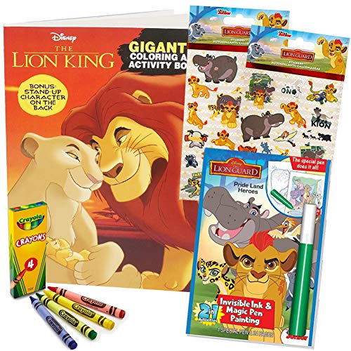 - ColorBoxCrate Lion King Coloring Book Toy Set 4 Pack Includes Epic Roar 50  Sticker Guard 37 Pc Hologram Sheets Crayons Invisible Ink And More For  Children Ages 3 To 8 - Educational Toys Planet