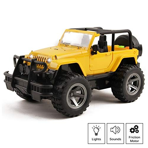 Vokodo Off-Road Truck With Lights And Sounds Friction Powered Jeep SUV 1:16 Scale Doors