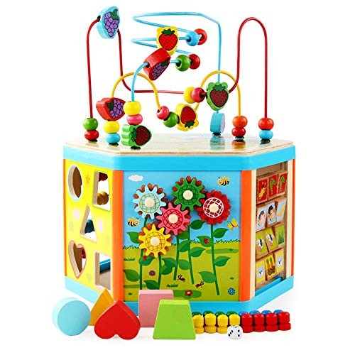 SMLZV Classic Wooden Building Blocks Sets Fits Toddlers Educational Preschool Learning Toys with Carrying Bag