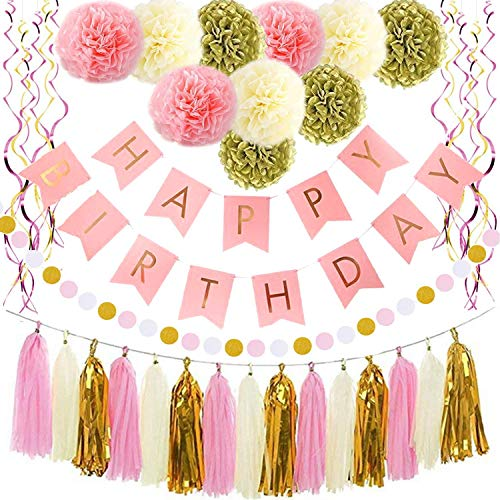 Birthday Decorations Pink and Gold Happy Party Decoration for girl boy women men Banner Paper Garland Supplies 1st 21st 25th 30th 40th 50th 60th 80th