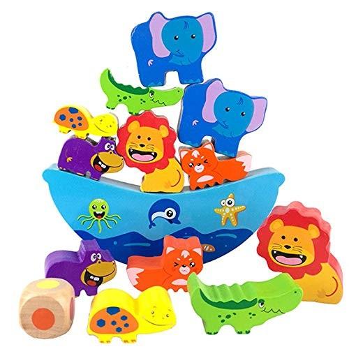 ZJHZN High Heels Wooden Toys Balancing Blocks Cartoon Animals Blue Boat Building Toy Geometric Early Educational Gift