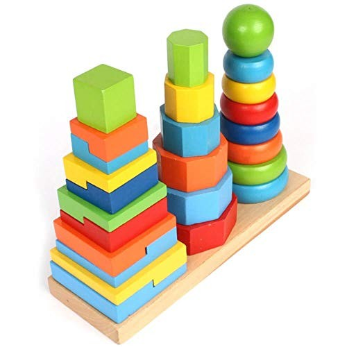 Wood Stacking Toy Stack and Sort Game Puzzle for Baby Kids 26 Pieces