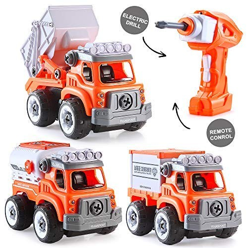 INSOON 3 in 1 Take Apart Toy Stem Car Toys for 3 4 5