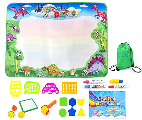 Yknot Exclusive Limited TIME Offer Doodle Mat for Toddlers Kids – Dinosaur Toys Large 40 x 28 Pad Aqua Drawing Magic Wheels Hot Birthday Gifts Mess Free Coloring
